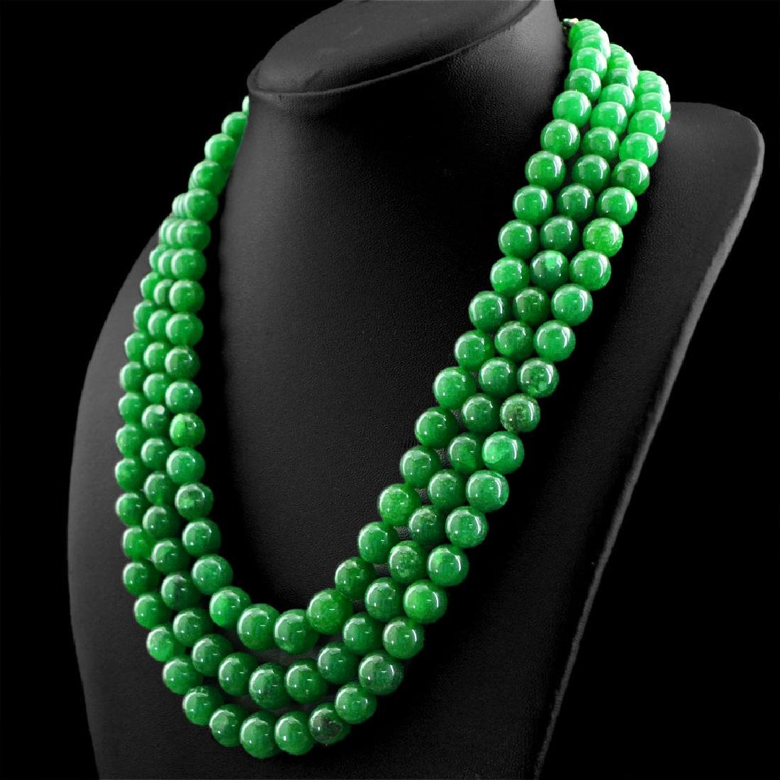 EARTH MINED 3 STRAND RICH GREEN EMERALD ROUND SHAPE