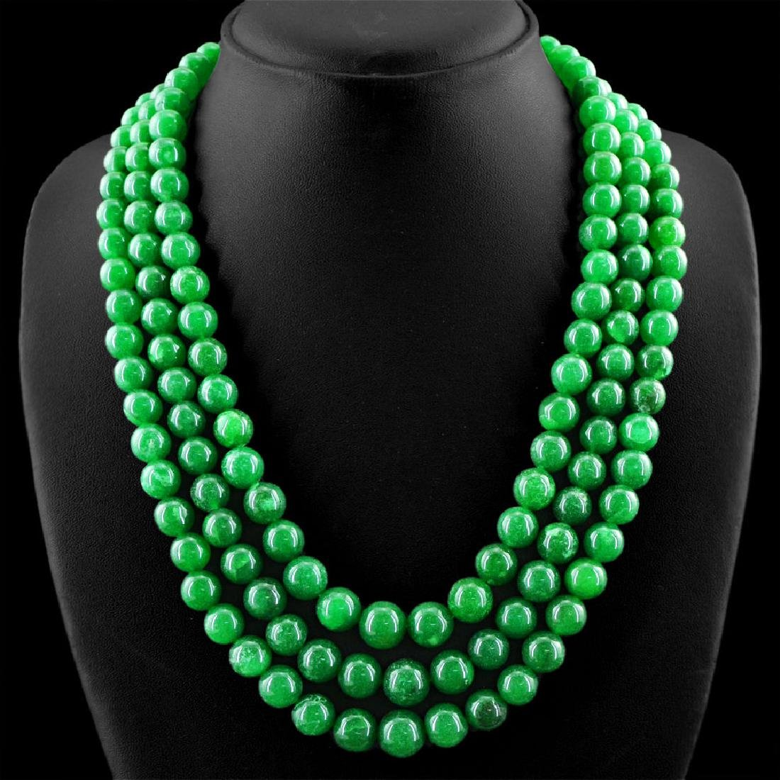 EARTH MINED 3 STRAND RICH GREEN EMERALD ROUND SHAPE - 2