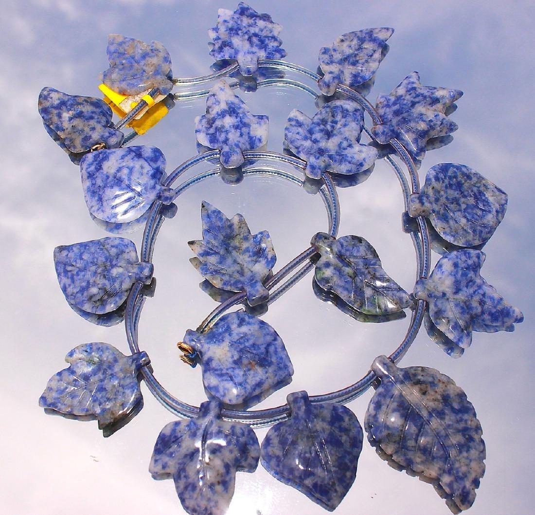 vintage Lapis Lazuli Carved Leaf Necklace