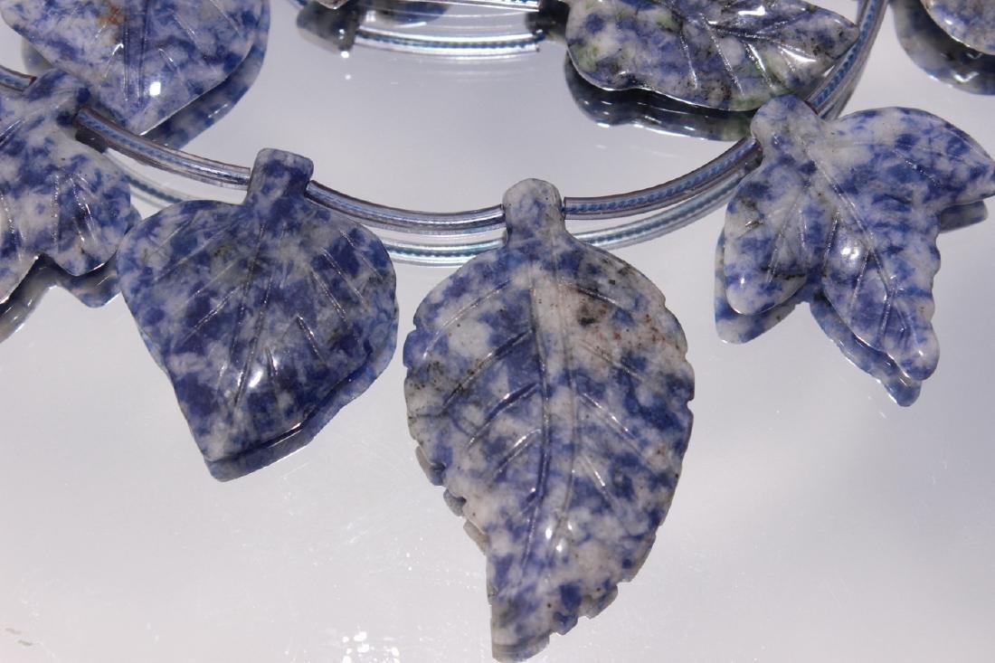 vintage Lapis Lazuli Carved Leaf Necklace - 2