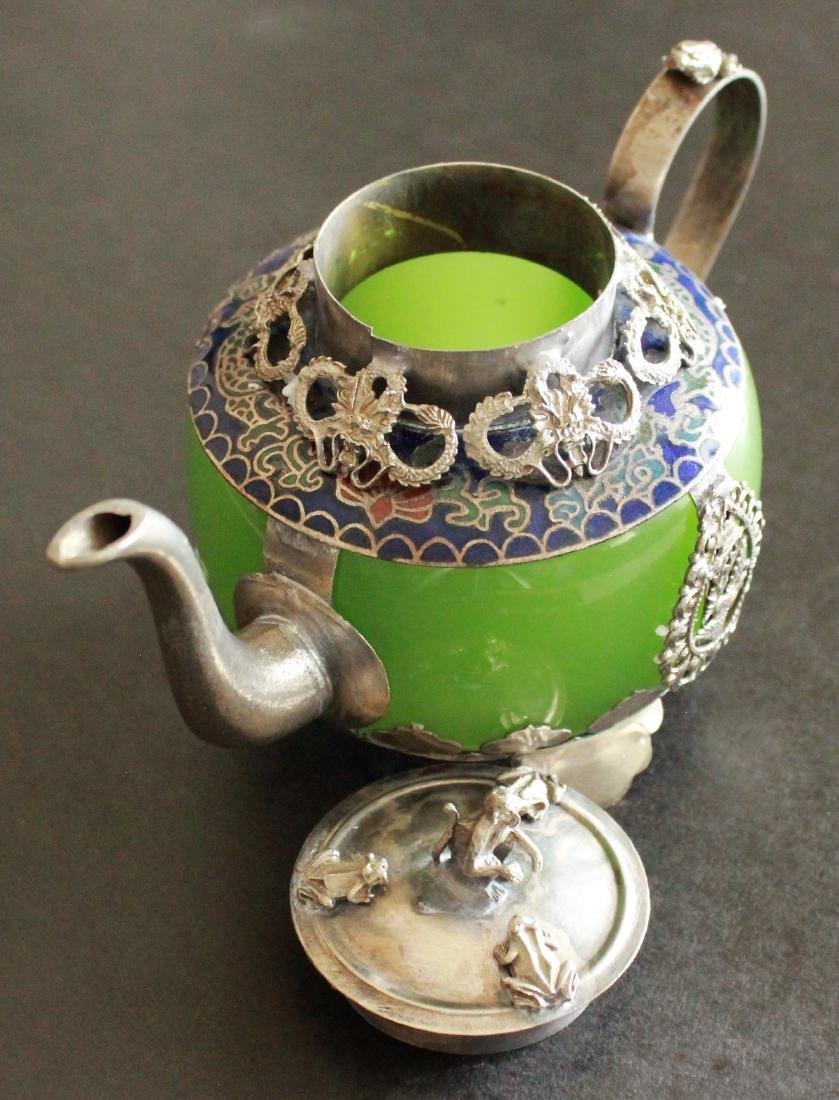 Jade & Tibet Silver Dragon Tea Pot - 2