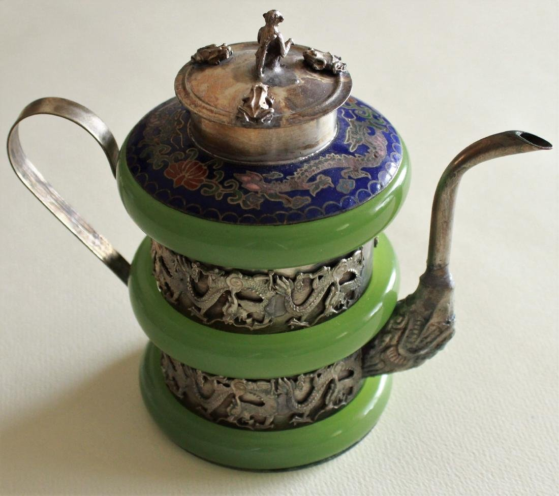 Chinese hand carved  jade teapot