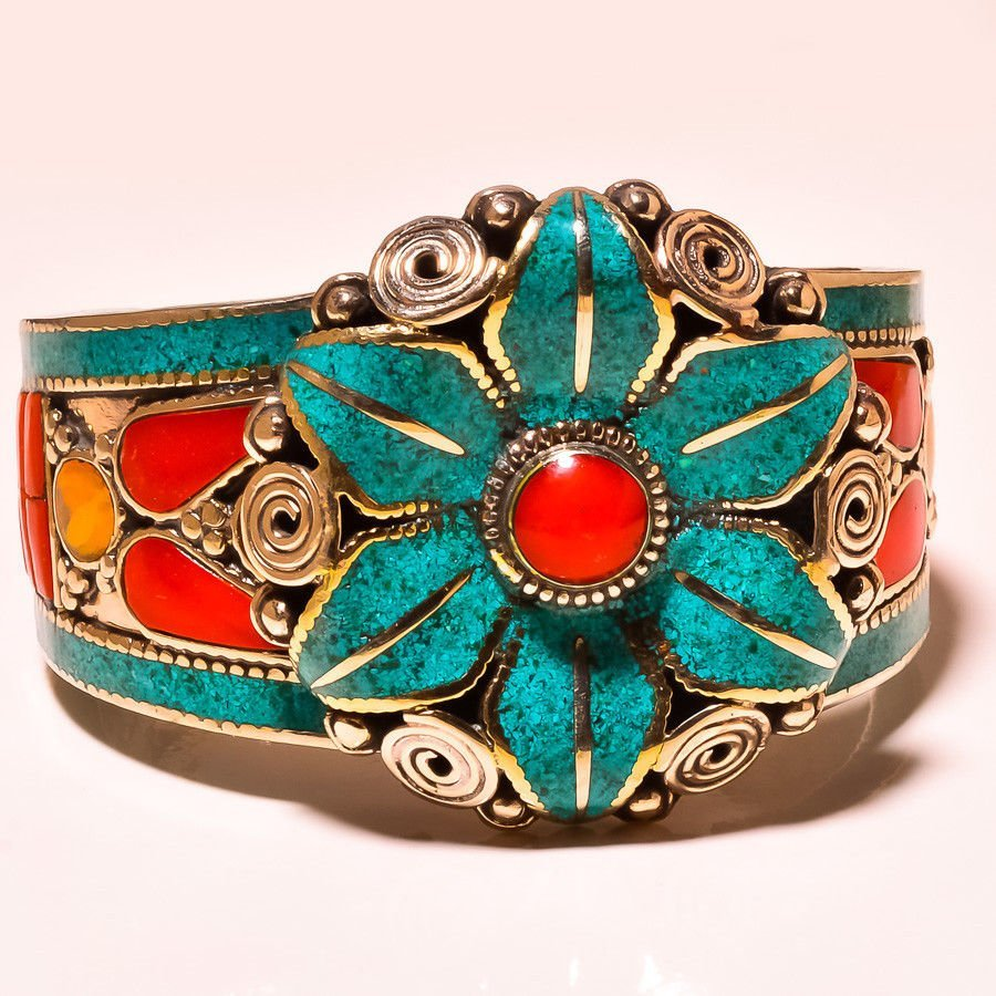 Flower Design Turquoise & Red Coral, Lapis Lazuli Nepal