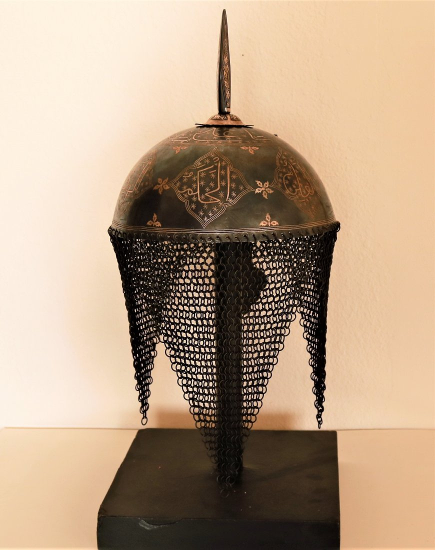Persian iron silver Koran calligraphy decorative helmet - 3
