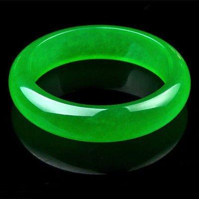 Beautiful Chinese Natural Green Jade Chinese Bangle - 2