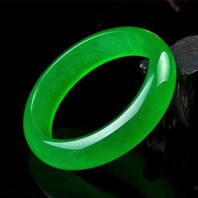 Beautiful Chinese Natural Green Jade Chinese Bangle - 3