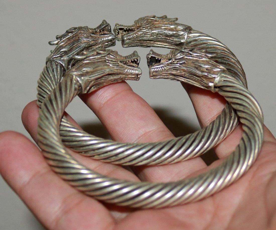 pair Chinese handmade old Tibetan silver bracelet