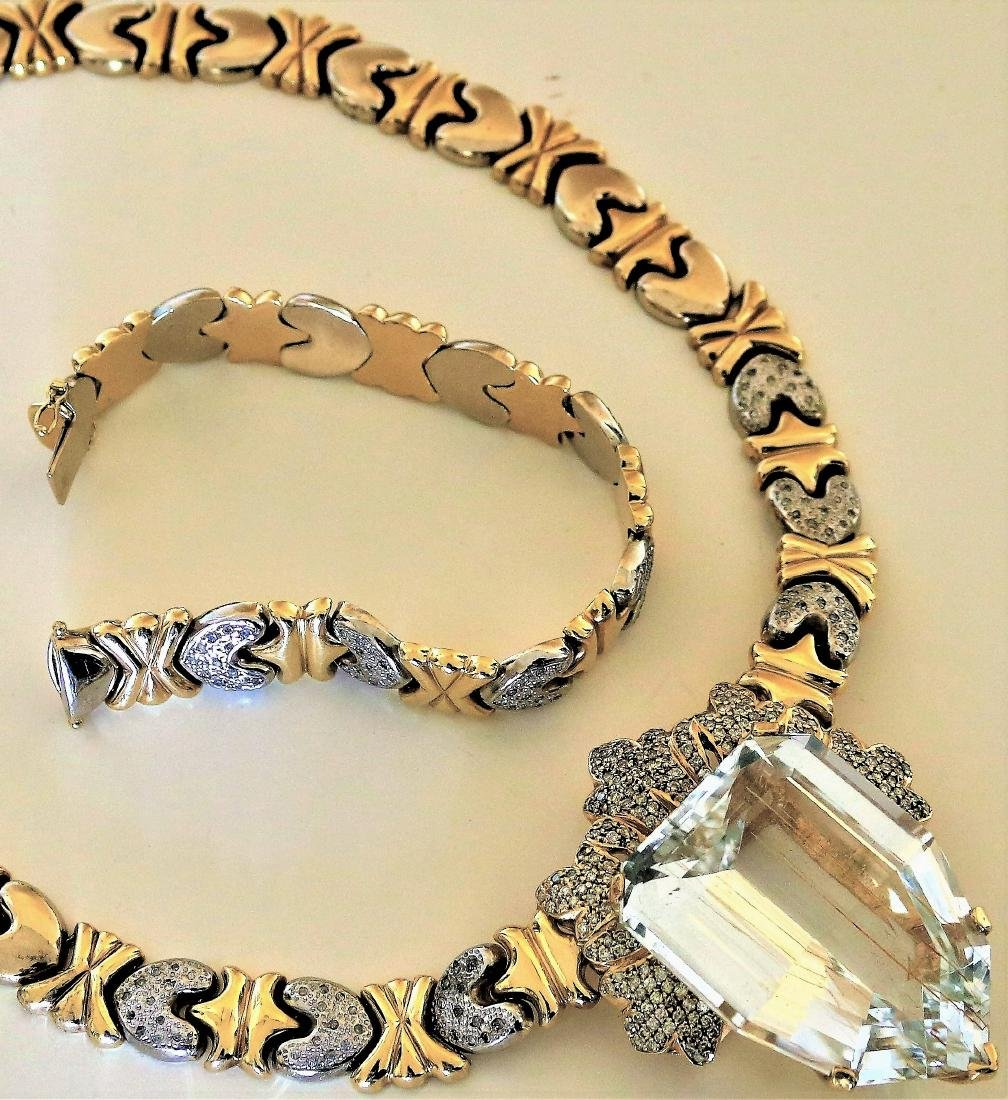 14K Yellow and White GOLD Diamond Necklace and Bracelet