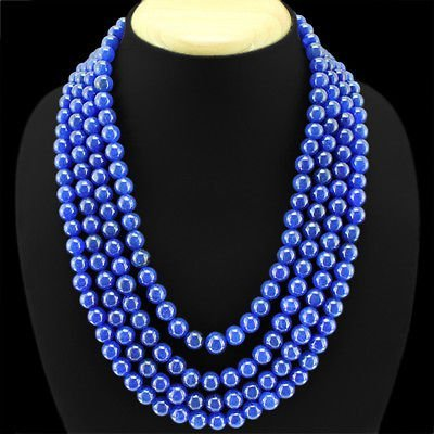 NATURAL BLUE SAPPHIRE 4 LINE ROUND SHAPED BEADS