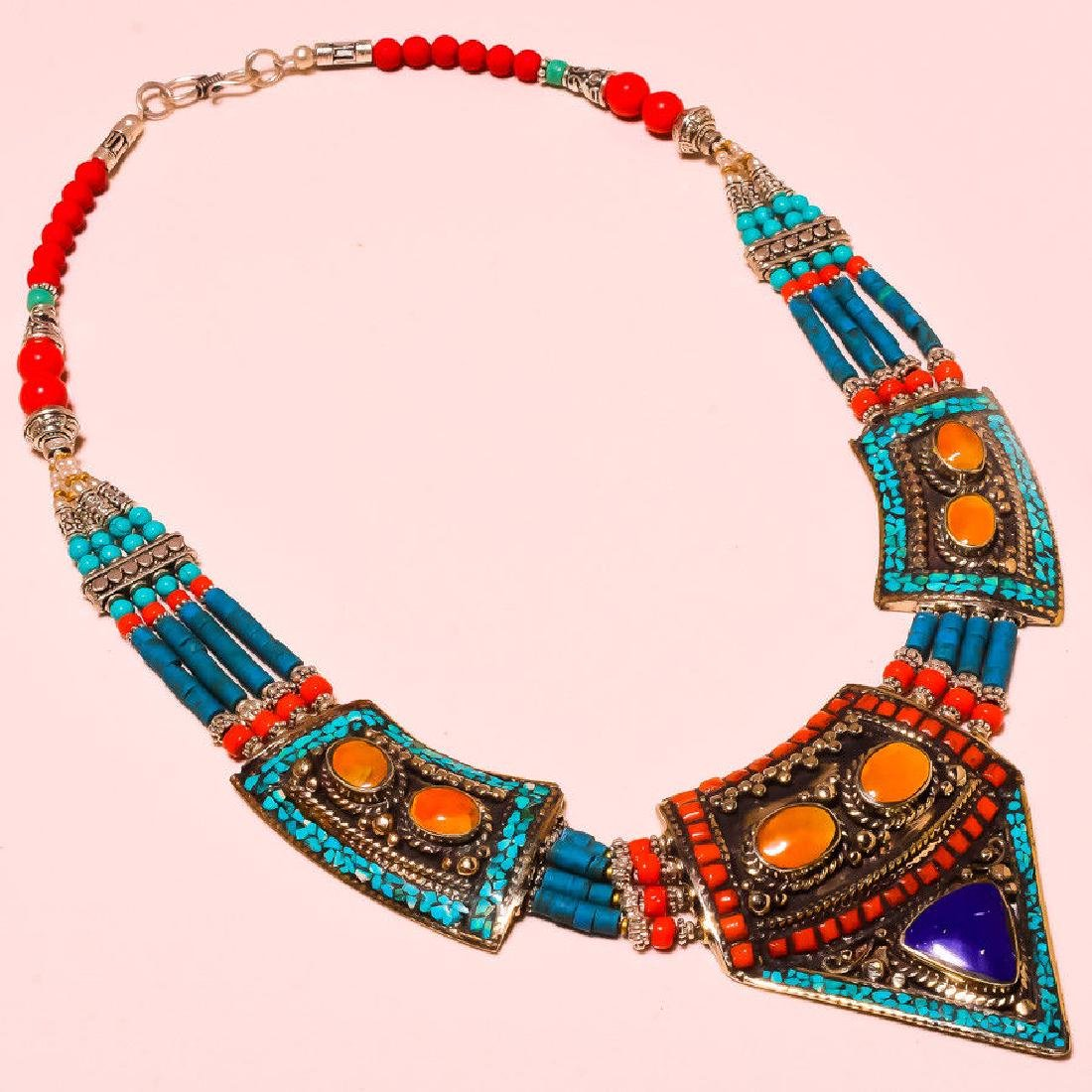 Tibetan Lapis Lazuli & Turquoise & Red Coral Necklace