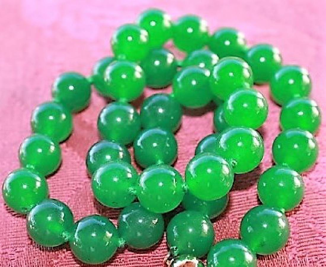 """10MM NATURAL GREEN JADE ROUND BEADS NECKLACE 18"""""""
