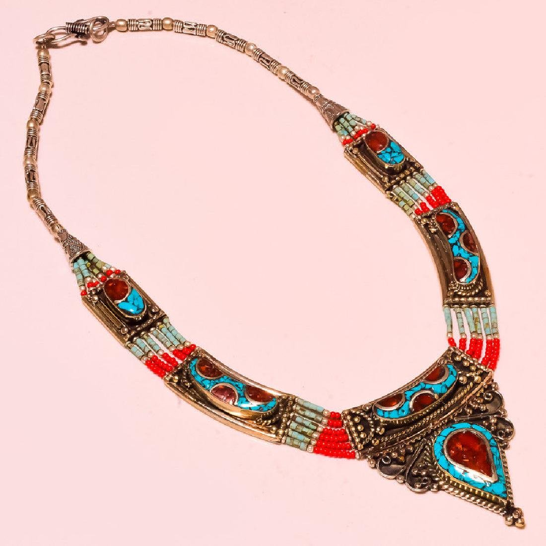 Turquoise, Red Coral 925 Silver Tibetan Necklace