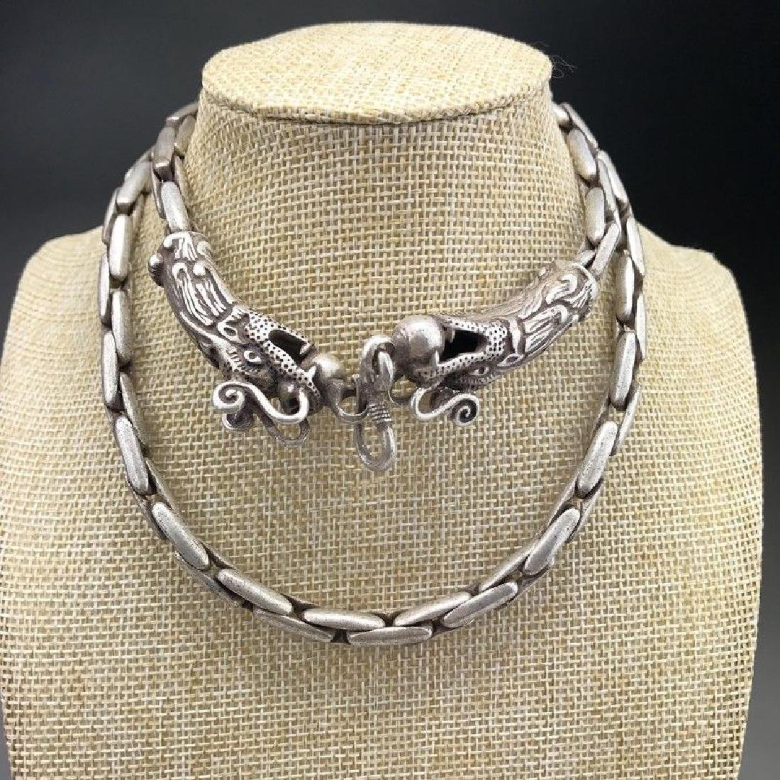 Tibetan Carved Double headed Dragon Silver