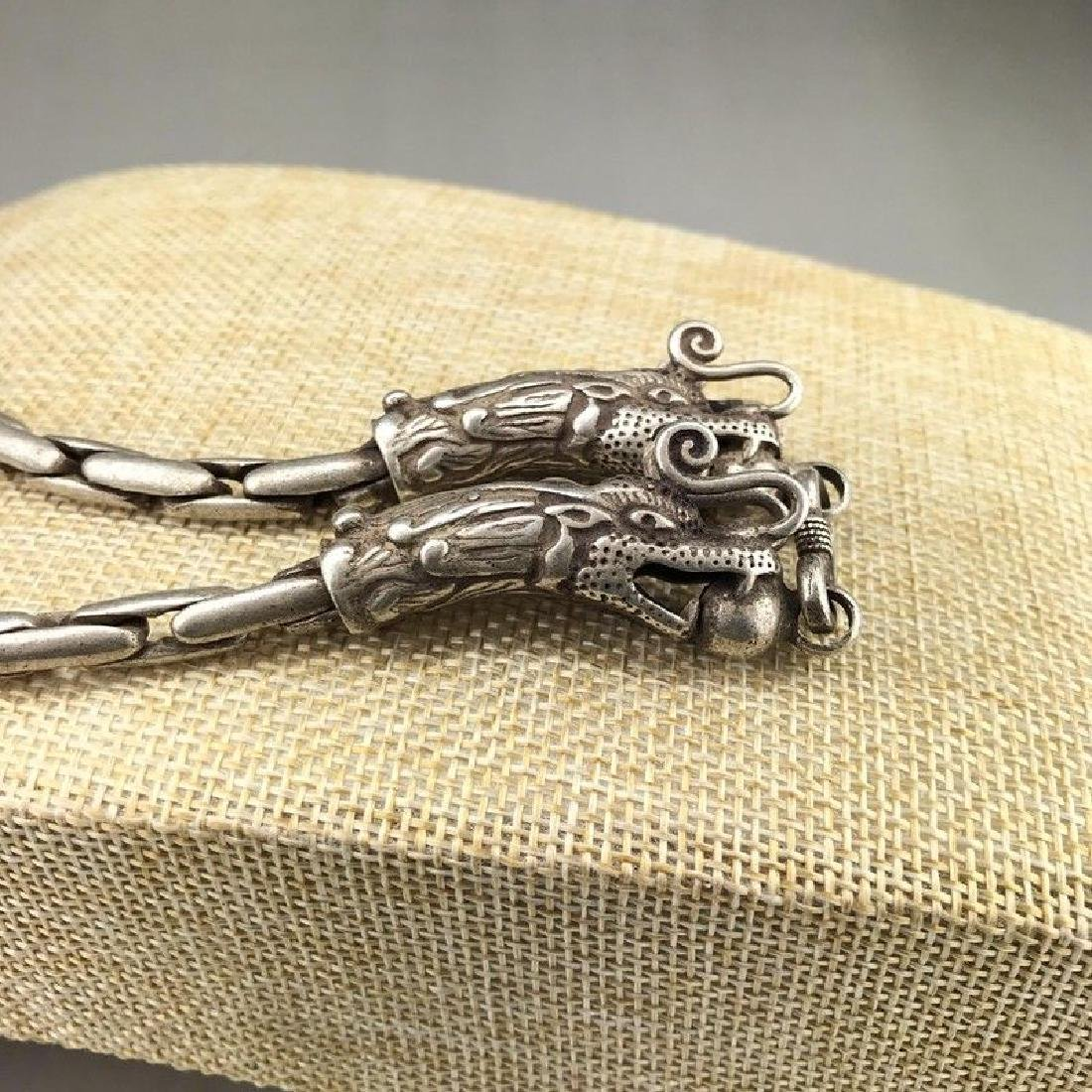 Tibetan Carved Double headed Dragon Silver - 2