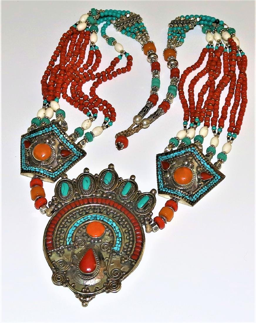 Lavish Turquoise, Yellow & Red Coral 925 Silver Tibetan