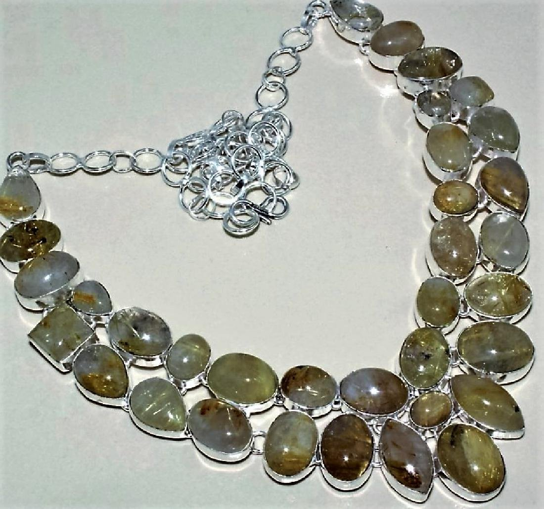 Golden Silver Rutile Silver Necklace