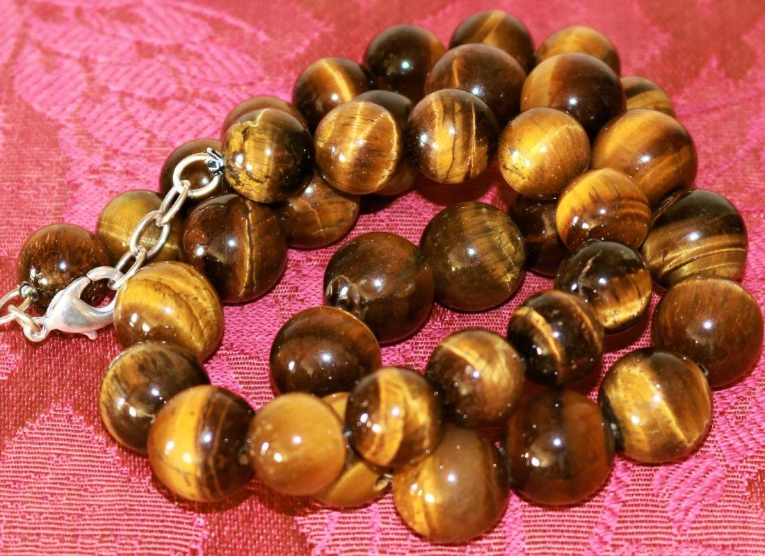 NATURAL 3 LINE RICH GOLDEN TIGER EYE BEADS NECKLACE