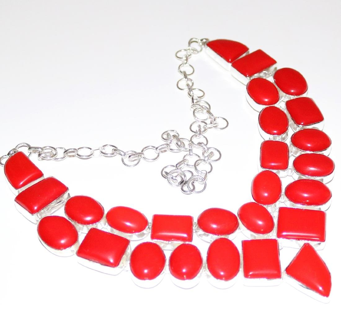 Italian Coral Silver Necklace