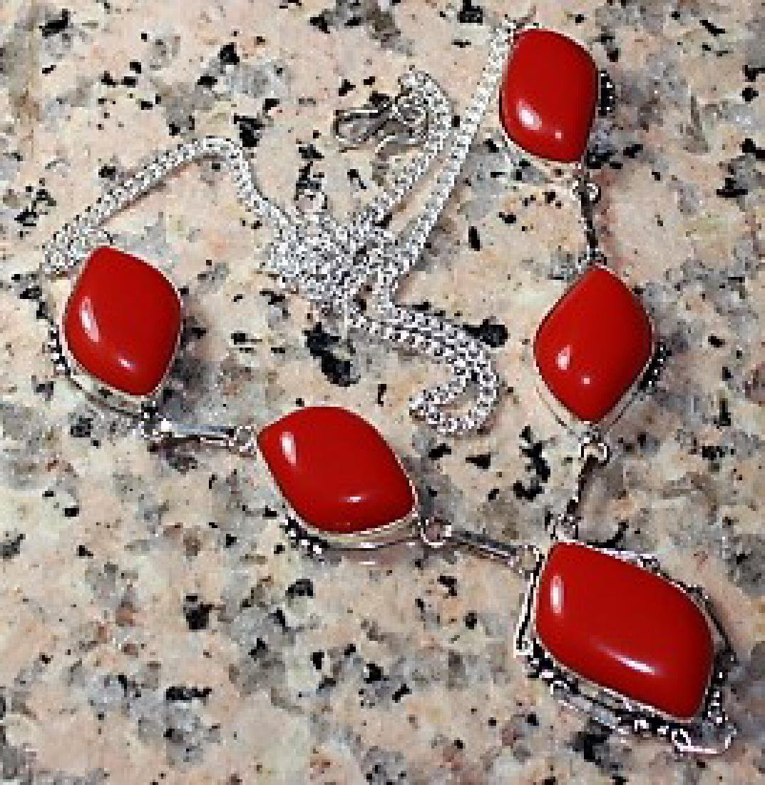 Italian Coral Silver Necklace