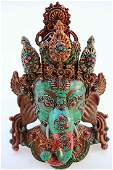 vintage Tibet Turquoise Coral Agate Bronze god Ganesha