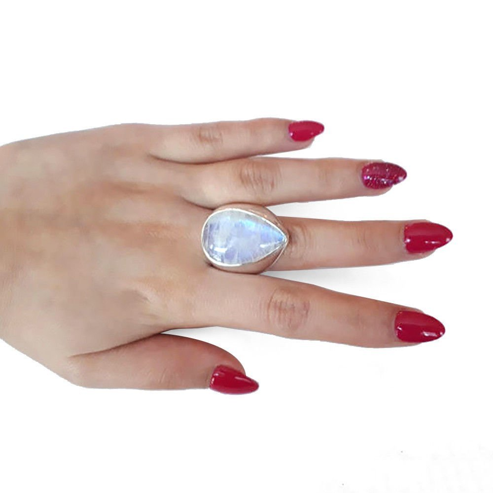 Women Natural Gemstone Rainbow Moonstone Ring Sterling - 3
