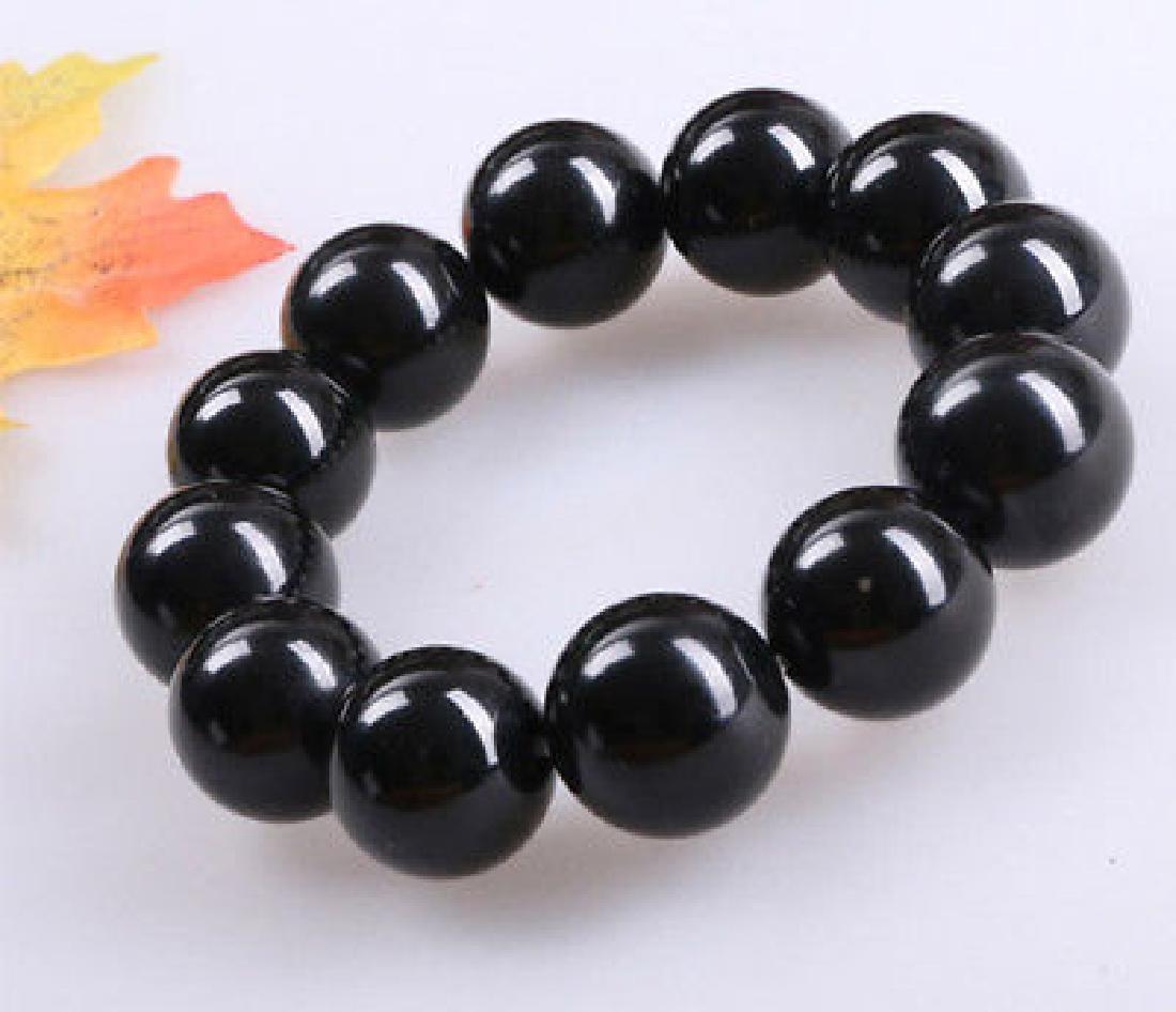 14MM Natural Black Agate Onyx Gemstone Beads