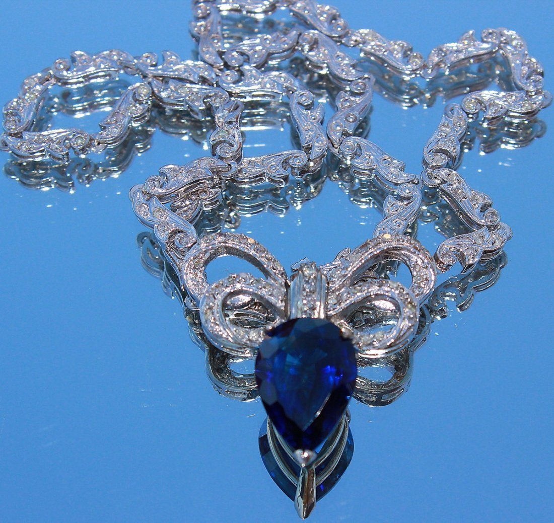 Stunning NATURAL Blue Pear-Shaped Sapphire and Diamond