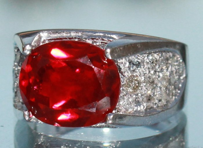 NATURAL Ruby and Diamond Ladies Ring