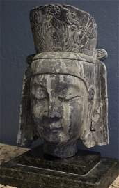 Limestone Bodhisattva Head