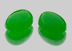 Matching Pair Cabochon-cut Natural Jadeite Jade