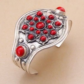 Red Bead Cuff Bracelet Bangle Tibet Silver Carved