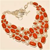 Italian Coral with River Pearl Silver Necklace