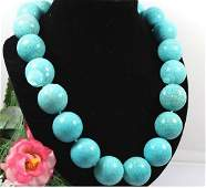 20mm Round natural Turquoise Stone Choker Necklace