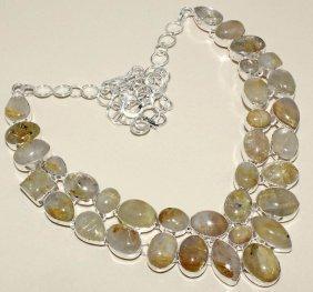 Golden Silver Rutile Silver Necklace