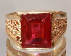 Vintage Emerald Cut Ruby In 10k Gold
