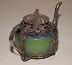 Jade & Tibet Silver Dragon Tea Pot