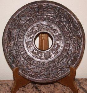 Natural Jade Hand-carved Statue Horse Plate Bi