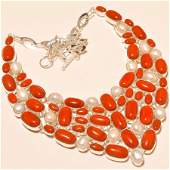 Italian Coral with Pearl Silver Necklace
