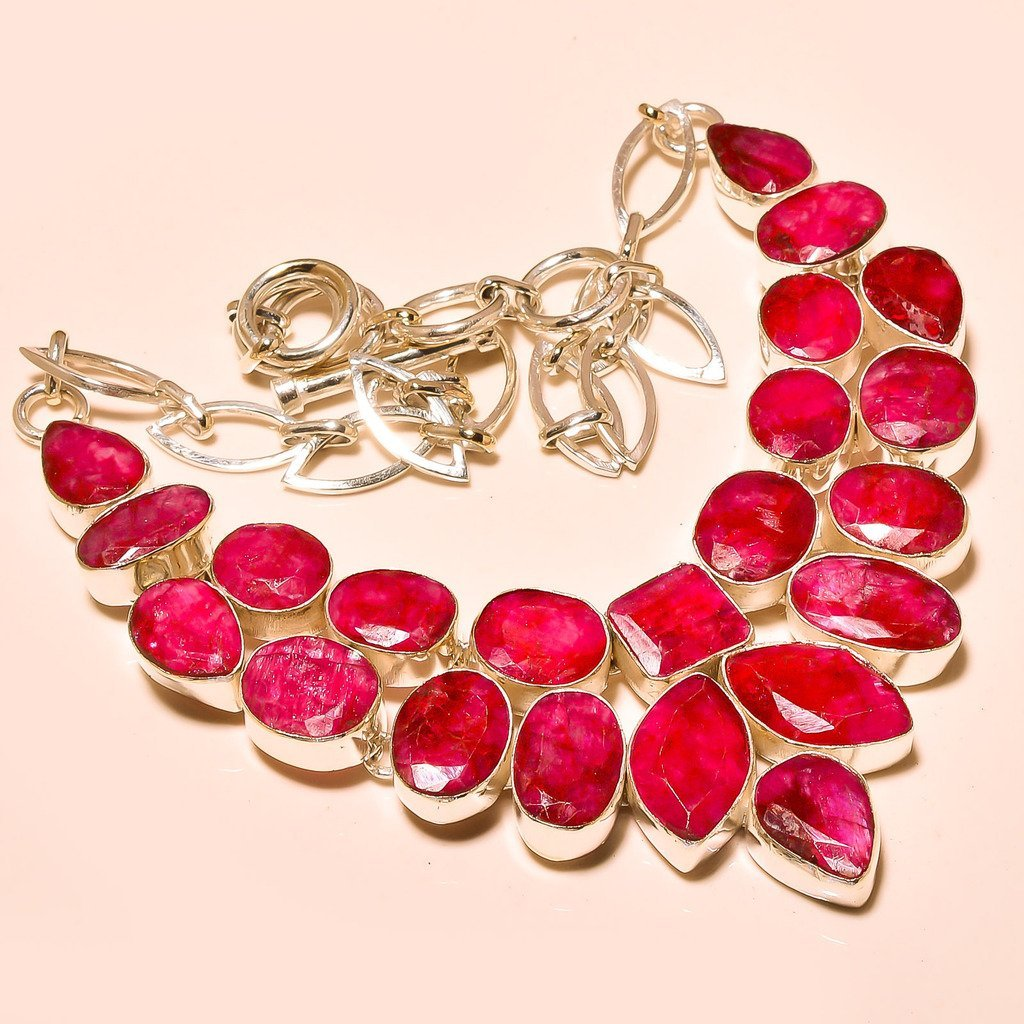 African Ruby Gemstone Silver Necklace