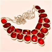 Mozambique Garnet Gemstone Silver Necklace