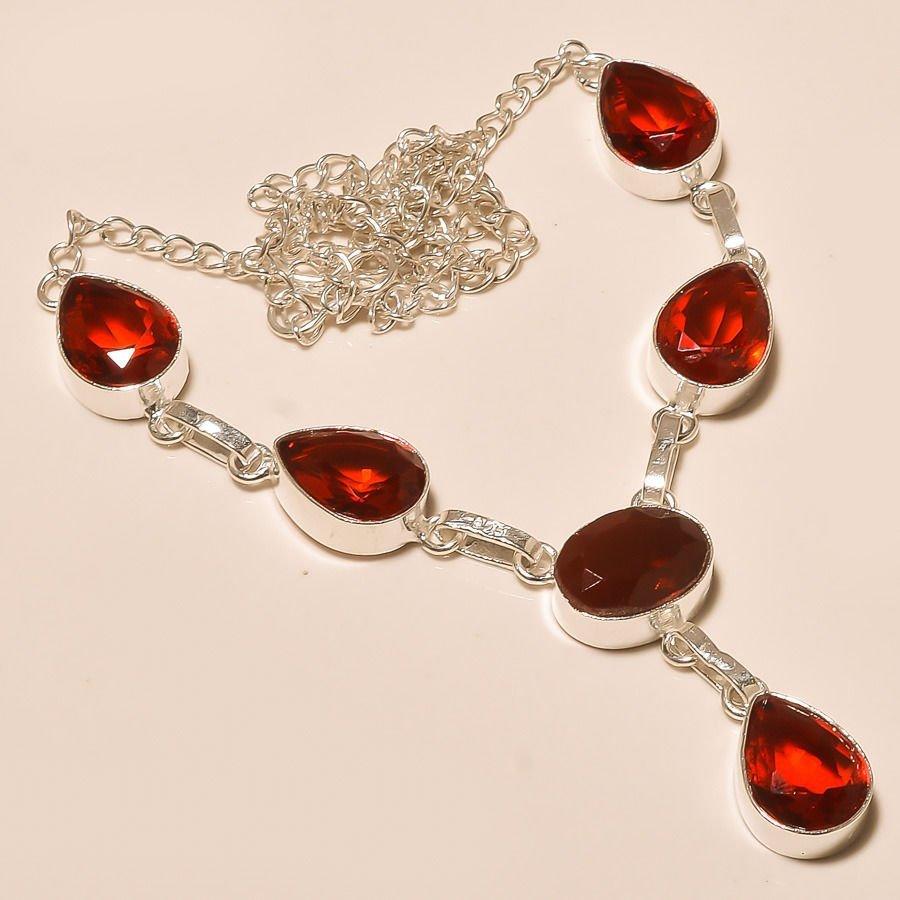 Garnet Gemstone Silver Necklace