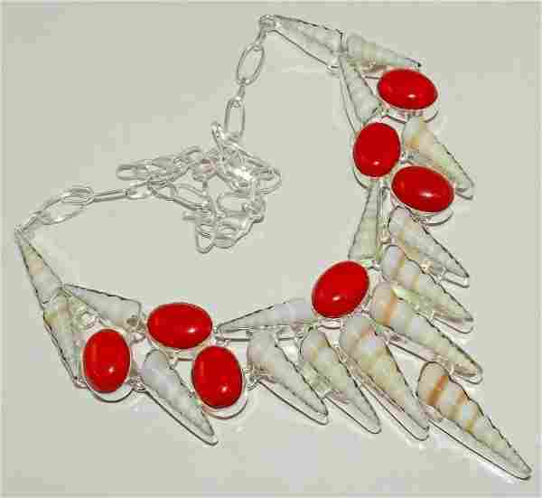 Shell & Red Coral Silver Necklace