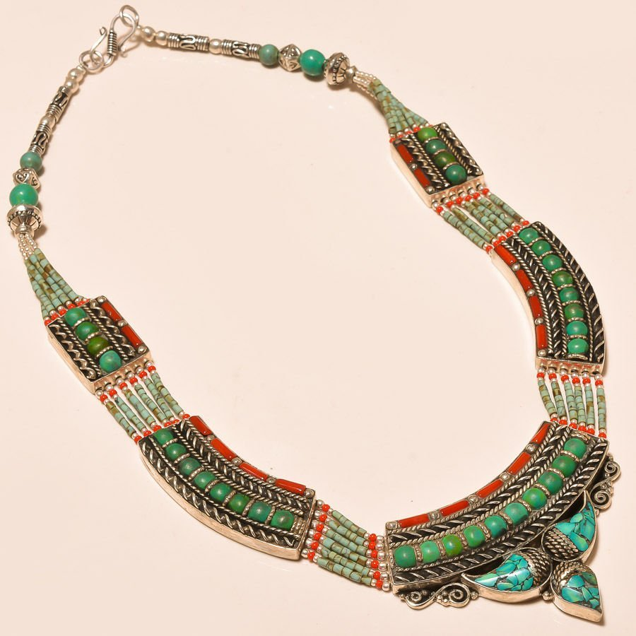 Turquoise with Red Coral Silver Necklace