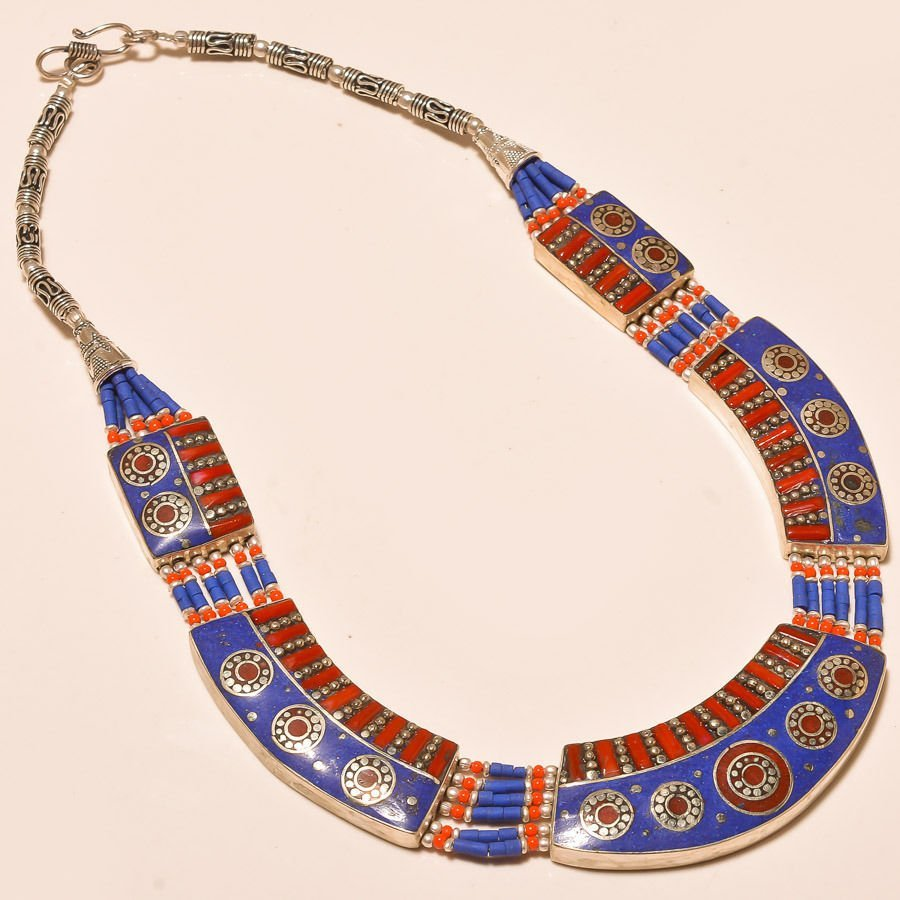 Red Coral and Lapis Lazuli Necklace,925 silver