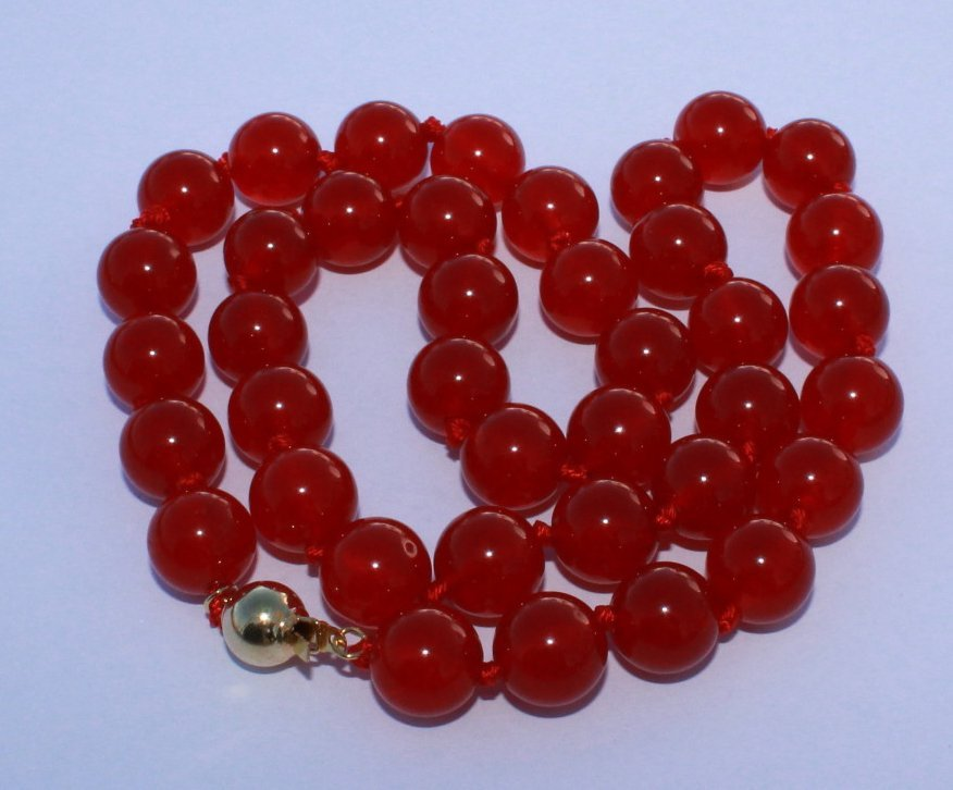 Red Jade Necklace 10mm 14ct Gold Clasp