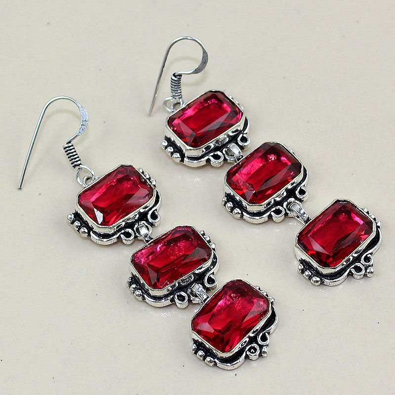 Rubellite Silver Earrings