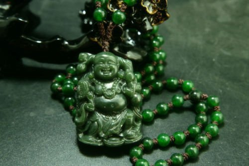 Natural Green Hetian Carved Jade Necklace