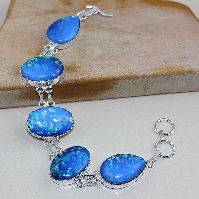 Fire Opal Silver Bracelet