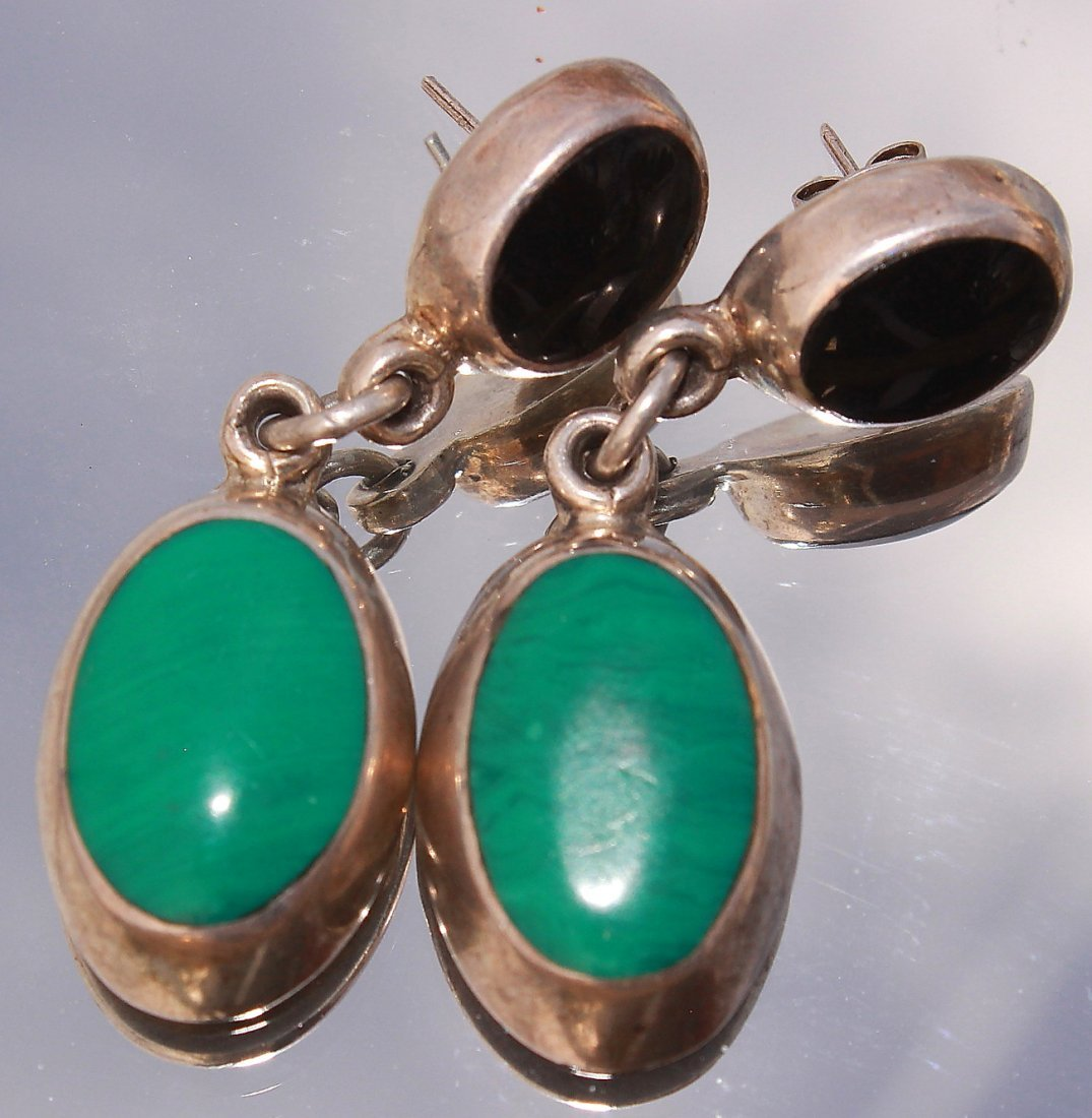 vintage Silver Inlaid Turquoise and Onyx Earrings