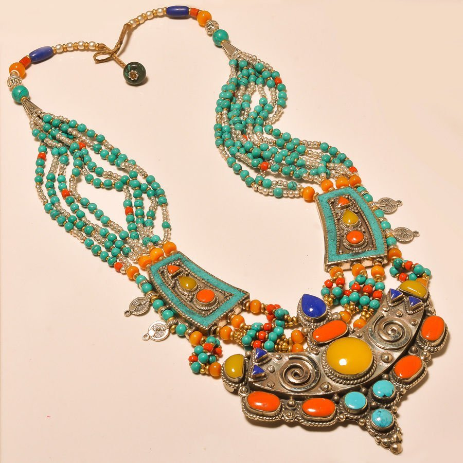 NEPALESE TURQUOISE & RED,YELLOW CORAL WITH LAPIS LAZULI
